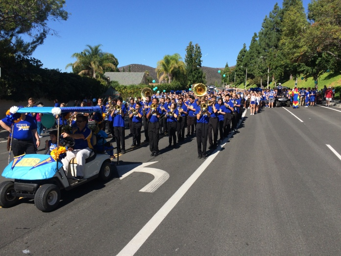 Principal Brian Mercer led the way down the parade route.
